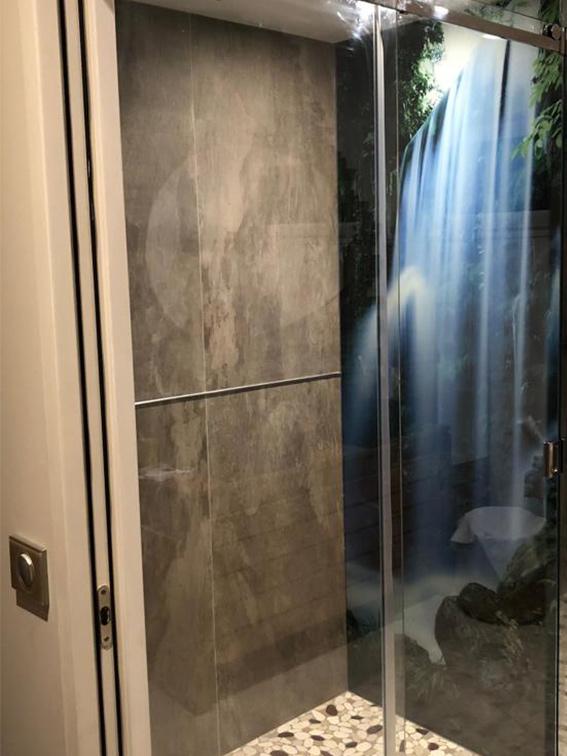 photo cabine de douche verre serigraphie